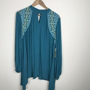 One World Tunic Length Teal Blouse